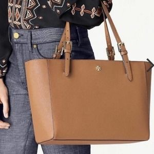 Tory Burch Emerson Buckle Tiger Eye Leather Tote